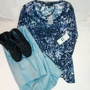 NWT Karen Kane Sheer Blue Top
